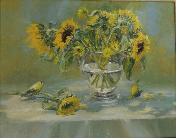 Gold Finches With Sunflowers In Clear Vase The Vault At 1930