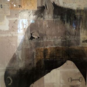Original Collage, charcoal, acrylic on wood panel with resin. art by Michael Brennan