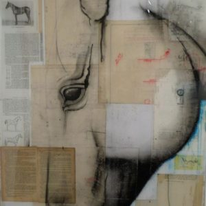 Original collage, charcoal, acrylic on wood panel with resin art by Michael Brennan